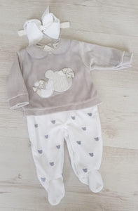 Spanish velour grey/white babygrow