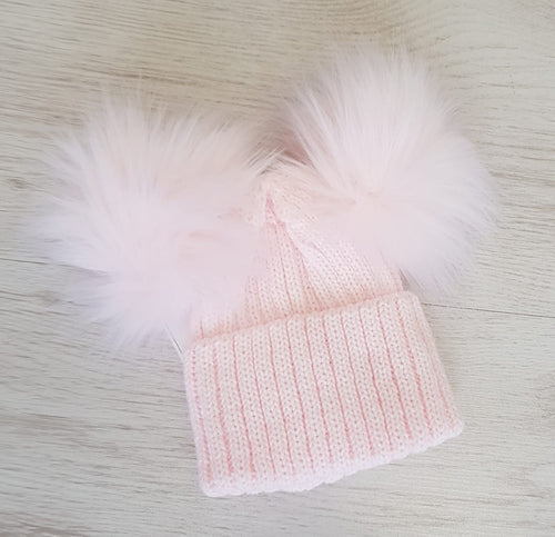 Baby pink double faux fur pompom hat