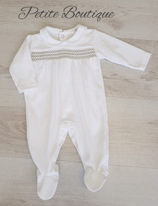 Spanish white/grey smocked babygrow