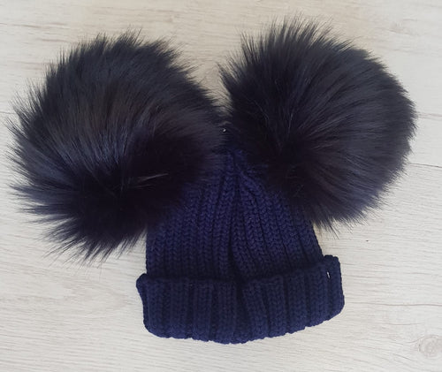 Navy faux fur double pompom hat