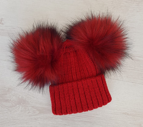 Double faux fur red pompom hat