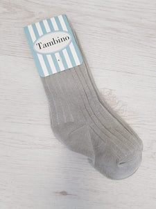 Grey knee high rib socks