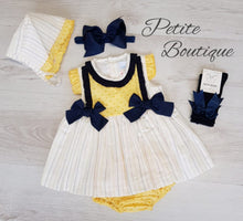 Load image into Gallery viewer, Spanish lemon/navy dress, pants & bonnet