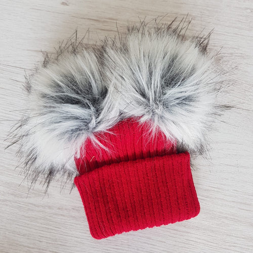 Red faux fur double pompom hat