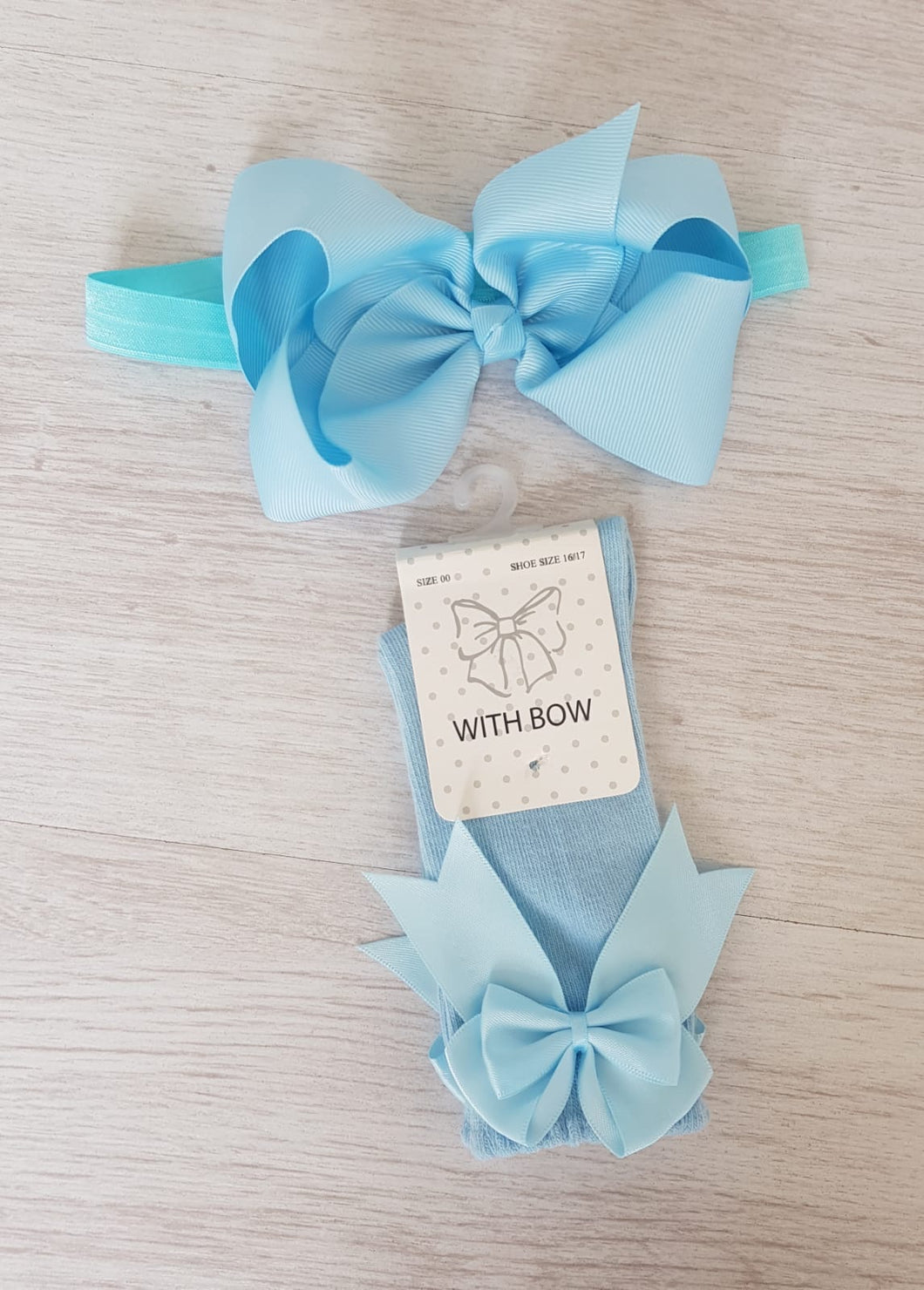 Baby blue knee high bow socks