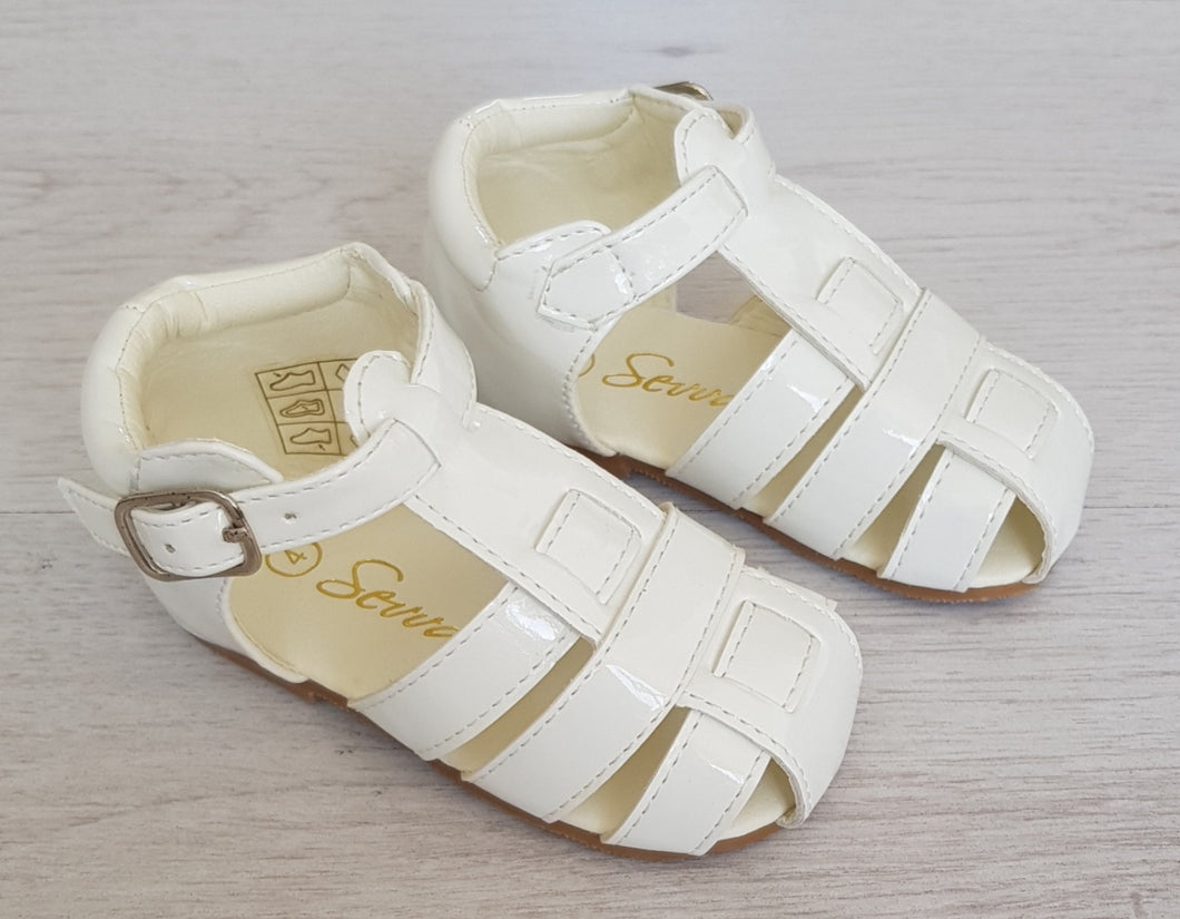 Boys white patent sandals