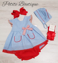 Load image into Gallery viewer, Spanish blue/red dress, pants & bonnet