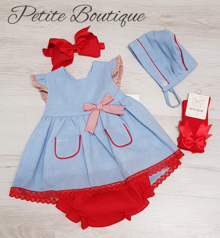 Spanish blue/red dress, pants & bonnet