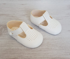 White matte T-bar soft sole shoes