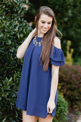 Double The Ruffle Cold Shoulder Dress