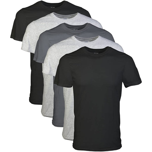 Gildan Men's Crew T-Shirt Multipack Assorted Black/Grey (5 Pack) #color_Assorted Black/Grey (5 Pack)