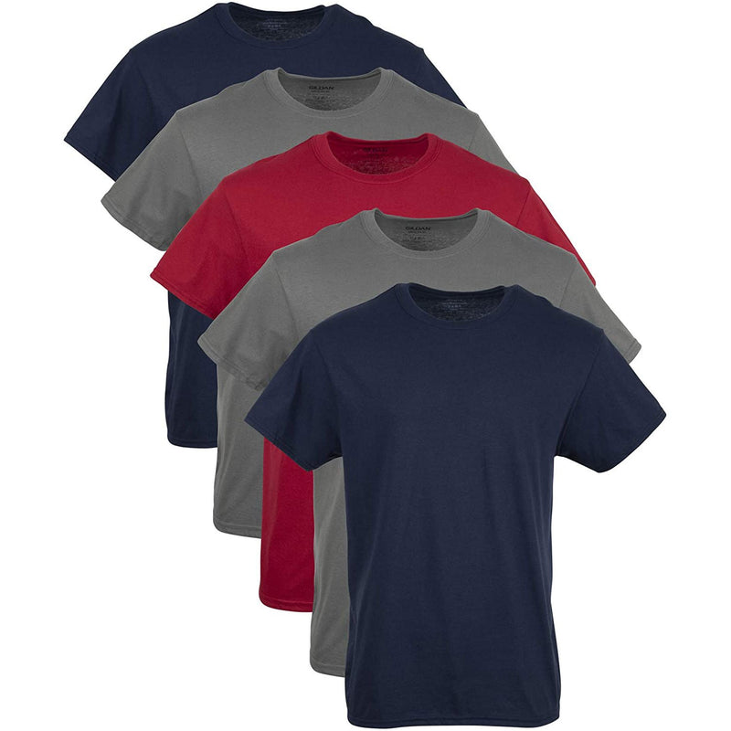 Gildan Men's Crew T-Shirt Multipack Navy/Charcoal/Red (5 Pack)