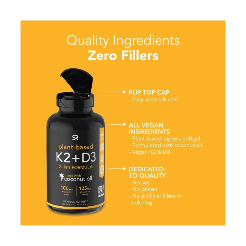 Vitamin K2 + D3 with Organic Coconut Oil