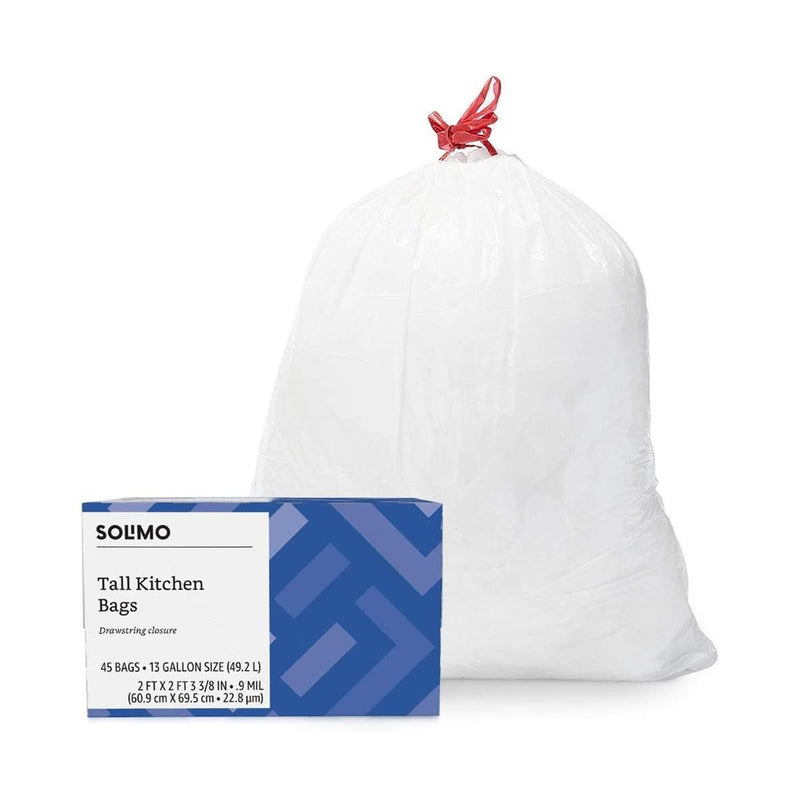 Amazon Brand - Solimo Tall Kitchen Drawstring Trash Bags