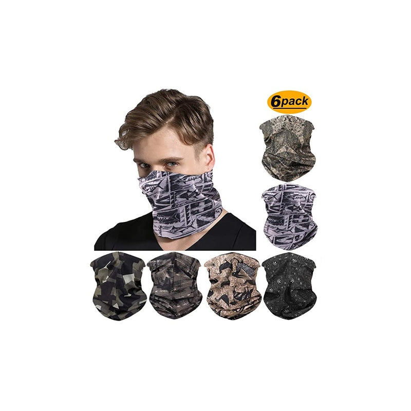 FAYBOX 6pcs Magic Wide Wicking Headbands Outdoor Headwear Bandana