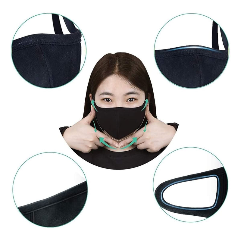 Neovoo 3 Pcs Black Reusable Mouth Cover