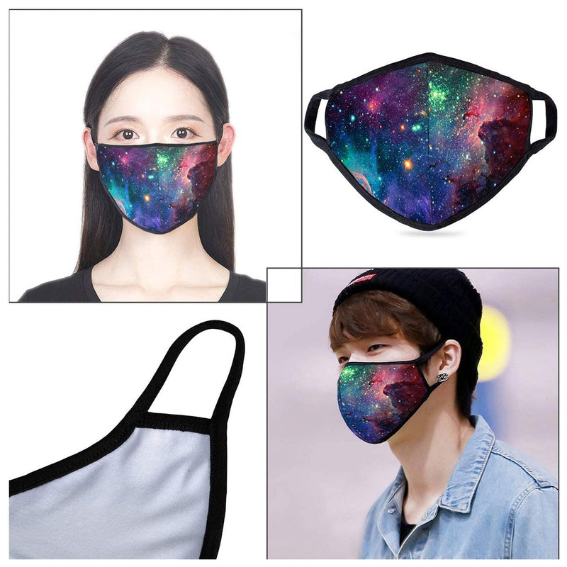 2 Pack Fashionable Starry Sky Pattern Face Cover