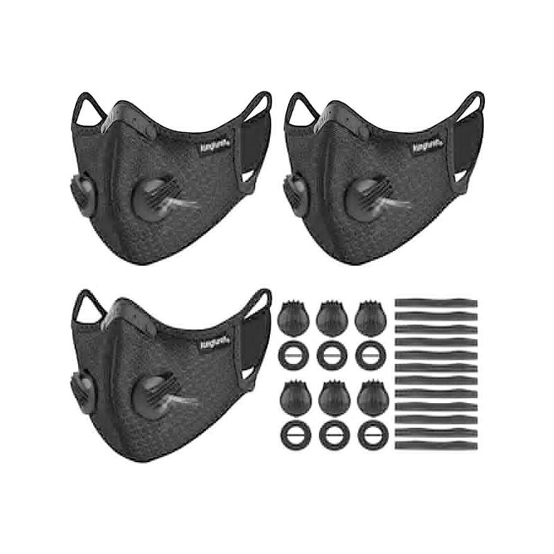 kungfuren 3 Sets Sports Cycling Masks with Activated Carbon Filter
