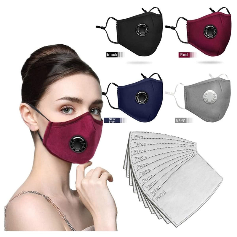 Face Bandanas Breathing valve With Activated Carbon Filter