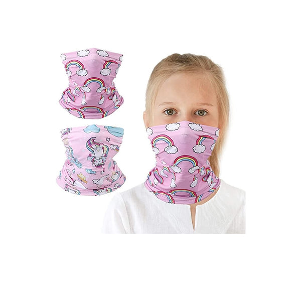 Kids UV Protection Face Cover Unicorn Rainbow Neck Gaiter