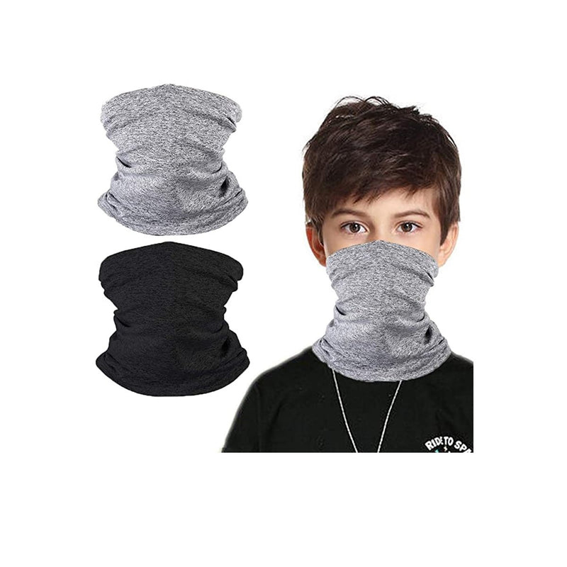 Kids UV Protection Face Cover Grey Black Neck Gaiter