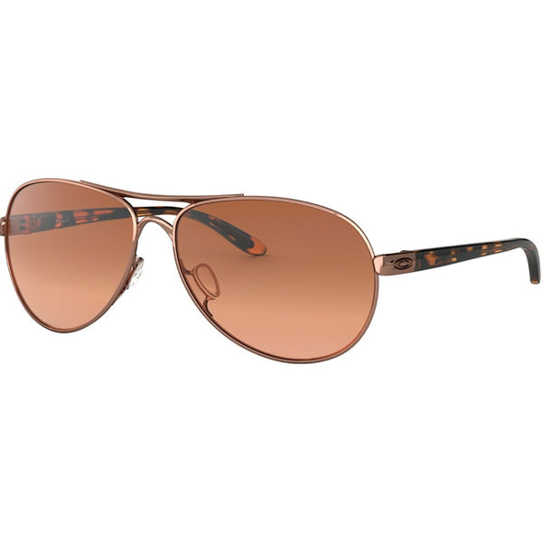 Oakley Feedback Sunglasses Rose Gold / Vr50 Brown Gradient #color_Rose Gold / Vr50 Brown Gradient