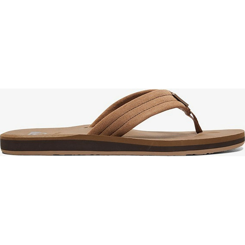Quiksilver Carver Suede Leather Flip-Flop Sandal Tan Solid