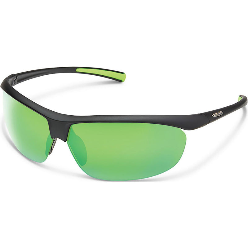 Suncloud Optics Zephyr Sunglasses Matte Black / Polar Green Mirror
