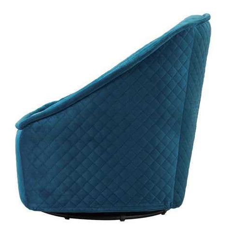 "34.3"" X 33.5"" X 33.7"" Aquamarine Velvet Swivel Chair"