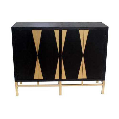 "37"" X 16"" X 48"" Black & Gold 4 Door Storage Cabinet"