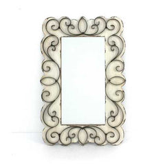 "1.25"" X 32.75"" X 21.75"" White Vintage Decorative Wood & Metal Wall Mirror"