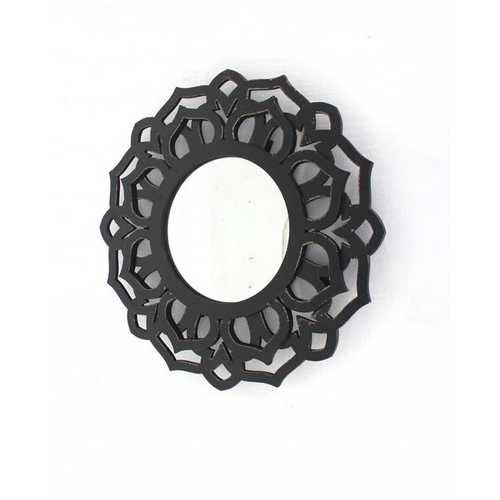 "23.75"" X 0.75"" X 23.75"" Black Traditional Lotus Wall Mirror"