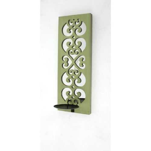 "6.25"" X 17.25"" X 5.25"" Green Traditional Wood Candle Holder Sconce With Mirror"