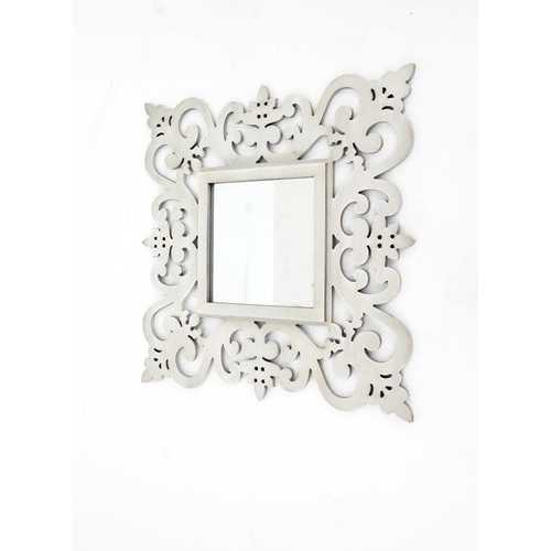 "23.75"" X 0.75"" X 23.75"" White Traditional Floral Cosmetic Wall Mirror"