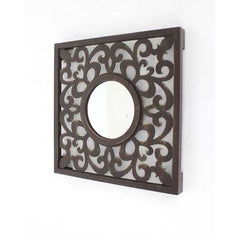 "24"" X 1"" X 24"" Brown Vintage Espresso Finished Wall Mirror"
