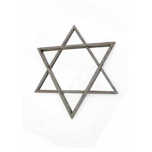 "2"" X 26"" X 30"" Silver Rustic Hexagram Wooden Cosmetic Mirror"
