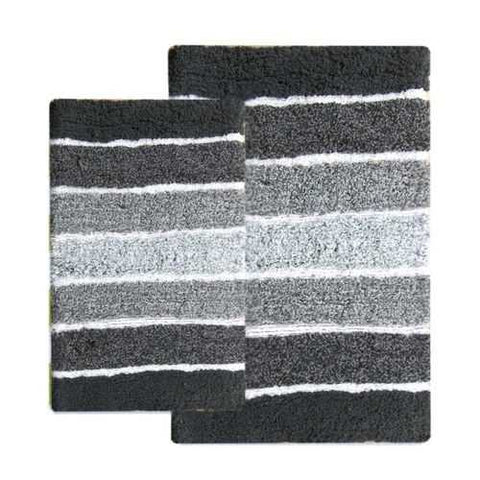 2 Piece Contemporary Bath Mat Set - Shades of Black