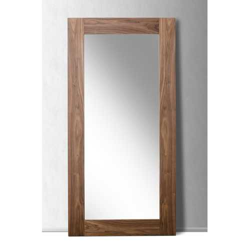 "79"" Walnut MDF, Veneer, and Glass Mirror"