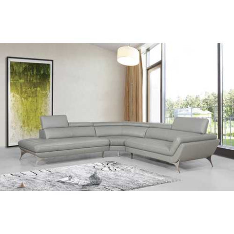 "30"" Grey Leather, Foam, and Steel Sofa"