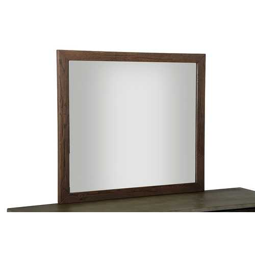 "35"" Dark Aged Oak Wood and Glass Mirror"