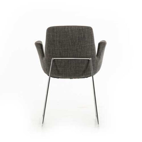 "33"" Grey Fabric, Polyester, and Metal Dining Chair"