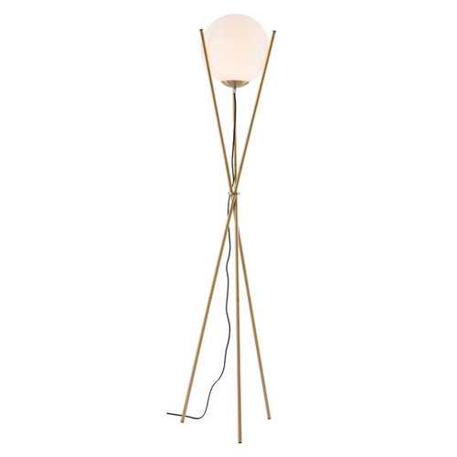 "20.7"" X 11"" X 68.9"" White And Brushed Brass Frosted Glass Floor Lamp"