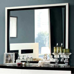 Contemporary Mirror, White/Black