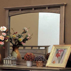Transitional Style Mirror In Weathered Oak Finish