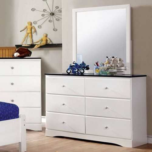 Wooden  Dresser With Ample Storage Space, White And Blue