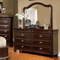 Eccentric Wooden Dresser In Transitional Style, Brown Cherry