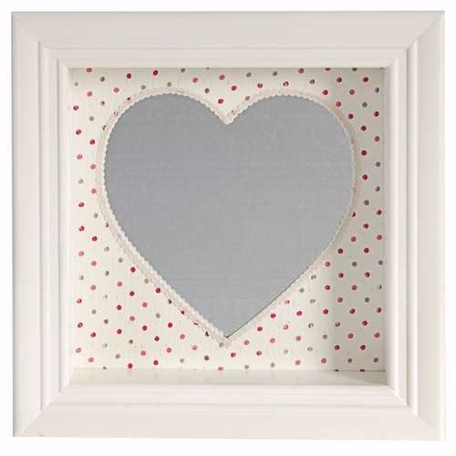 Beautiful and Pretty Heart Shaped Wall Mirror, White