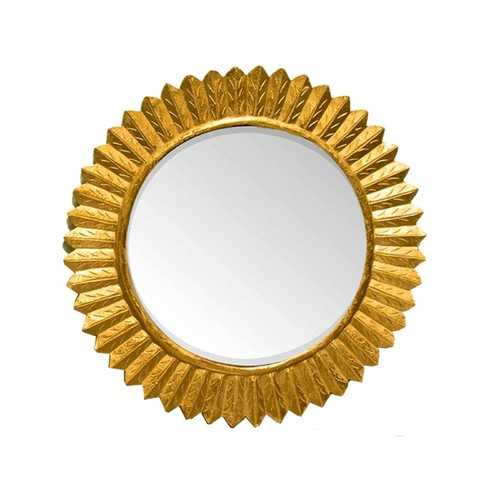 Captivating Round Mirror with wooden Carving Frame, Gold