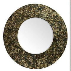 Antique Round Mosaic Patterned Mirror, Multicolor