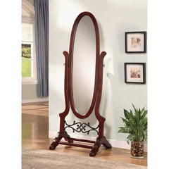 Traditional Style Ova Shaped Cheval Mirror, Brown